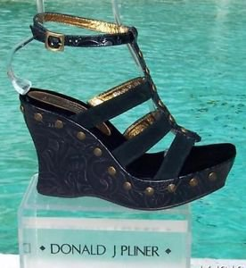 Donald Pliner $295 COUTURE SUEDE ROSETTE LEATHER WEDGE Shoe HAND MADE SIGNATURE