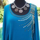 Cache $108 NWT M/L LINED DOLMAN SLEEVE Top EMBELLISHED STRETCH BODY CON DESIGN
