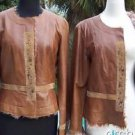 Cache $598 LAMB LEATHER LAMB FUR TRIM JACKET COAT Top NWT M/L SUEDE GEMSTONES