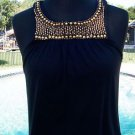 Cache $88 STRETCH MESH BEAD EMBELLISHED Cami Tee Top NWT XS/S/M/L/XL RUCHED