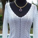 Cache $118 PEEK-A-BOO CROCHET KNIT V-NECK Top NWT S/M/L BANDED BOTTOM~ STRETCH