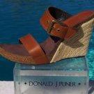 Donald Pliner COUTURE $275 LEATHER HEMP WEDGE Shoe NIB 11.5 RUBBER SOLE SIGNATUR