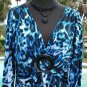 Cache $$$ STRETCH ANIMAL PRINT RUCHED BUST O RING Top NEW L HEAT PRESS EMBELLISH