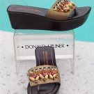 Donald Pliner COUTURE $245 METALLIC LEATHER Shoe NIB WOOD BEADS PLATFORM