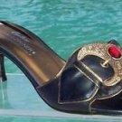 Donald Pliner $275 COUTURE ORNATE BUCKLE METAL LEATHER SANDAL Shoe NIB 6 SLIDE