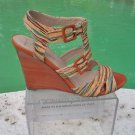 Donald Pliner $395 COUTURE HAND PAINTED CORK WEDGE SHOE NIB STRAPPY SIGNATURE