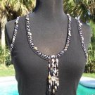 Cache $88 SEA SHELLS BEADS EMBELLISHED STRETCH RIB KNIT TEE Top NWT S/M/L