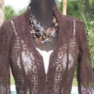 Cache $158 ESPRESO SHEER ILLUSION LACE Top Jacket NWT XS REMOVABLE SATIN BELT