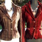 Cache $178 VELVET DIP-DYE JACKET COAT Top NWT 0/2/4/6/8/10/12 CRANBERRY OR BROWN