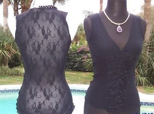 Cache $88 SHEER ILLUSION LACE BACK PEEK-A-BOO MESH  FRONT CAMI Top NWT XS/S/M/L