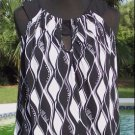 Cache $88 STRETCH PEEK-A-BOO BUST BUBBLE WAVE Top NWT CUT-IN SLEEVE BLACK WHITE