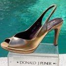 Donald Pliner $285 COUTURE CORK METALLIC LEATHER Pump Shoe NIB SLINGBACK
