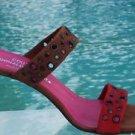Donald Pliner $245 COUTURE SUEDE LEATHER SANDAL Shoe NIB 8.5 GROMMETS SIGNATURE