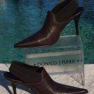 Donald Pliner $345 METALLIC LEATHER Boot Shoe NIB SATIN ELASTIC SLING SIGNATURE