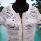 Cache $128 PEEK-A CHENILLE METALLIC KISSED Top NWT XS/S/M/L/XL FRONT ZIPPER