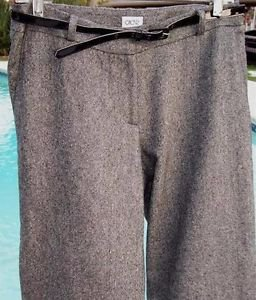 Cache $118 Crop Wool Blend Pant + REMOVABLE BELT NWT 0/2/4/6/8/10/12  TWEED
