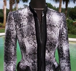 Cache $198 TWEED EMBELLISHED Top JACKET NWT LINED METALLIC KISSED 0/2 XS