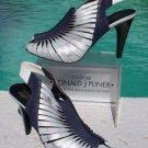 Donald Pliner $385 TWISTED Leather ELASTIC Slingback Shoe NIB PEEP-TOE 5 METALIC
