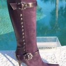 Donald Pliner $695 COUTURE SUEDE & LEATHER Boot Shoe NIB SILVER HORSE SHOE