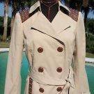 Cache $238 TRENCH COAT + BELT Jacket NWT XS/S/M/L pLEATHER + STUD TRIM LINED