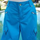 Cache $98 DRESSY CROP Pant NWT S/M 4/6/8 STRETCH RHINESTONE STUD ADJUST LENGTH
