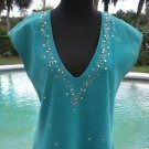 Donald Pliner $995 SUEDE LEATHER TOP NWT S/M EMBELLISHED TUNIC V NECK AQUA TURQ