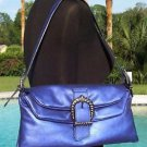 DONALD PLINER $355 METALLIC LEATHER PURSE HAND BAG NWT COBALT BLUE SIGNATURE