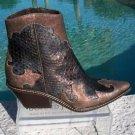Donald Pliner $575 WESTERN COUTURE PITONE METALLIC LEATHER BOOT Shoe NIB 6.5