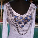 Cache STRETCH SAPPHIRE CHAINS $$$ TEE Top NWT XS/S Burn-Out DRESS UP OR DOWN