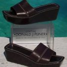 "Donald Pliner $215 LEATHER 2 3/4"" WEDGE SANDAL Shoe NIB 9.5 11 DETAIL STITCH"