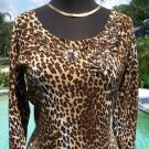 Cache $118 STRETCH KNIT  EMBELLISHED ANIMAL Top NWT M/L BANDED BOTTOM