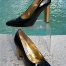 "Timothy Hitsman  $$$  PATENT LEATHER  Shoe Pump EUC 8  4"" GOLD CUT-OUT HEEL"