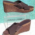 Donald Pliner COUTURE $220 LEATHER STRAW WEDGE PLATFORM Shoe NIB 9 10 ELASTIC