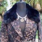 Cache $298 REMOVABLE FOX COLLAR BRONZE METALLIC BROCADE Jacket Top NWT