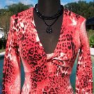 Cache $118 LOVE-KNOT RUCHED BUST ANIMAL PRINT STRETCH SWEATER Top NWT S