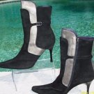 Donald Pliner $595 COUTURE SUEDE LEATHER Boot Shoe NIB PEWTER METALLIC SIGNATURE