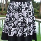 Cache $138 PLEATED METALLIC KISSED Skirt NWT 10/12/14 M/L SELF-BELT BLACK WHITE