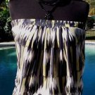 Cache $88 STRETCH ELASTIC STRAPLESS Top NWT Blk Yellow White LAYERED MESH-LINED