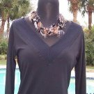 Cache $98 MATTE JERSEY DOUBLE PLUNGING V NECK Top NWT S/M/L+ BANDED BOTTOM