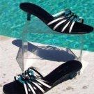 "Cole Haan $175  BLACK WHITE LEATHER STRAPPY Sandal Shoe NIB 9  1 3/4"" HEEL"