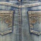 Cache $138 Denim RHINESTONE CROWN Skirt  NWT 8/10 M STRETCH 5 POCKET DESIGN