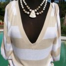 Cache $88 PLUNGING V NECK RUCHED  KNIT TUNIC Top NWT S/M BANDED BOTTOM STRETCH