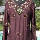 Cache $168 SILK ELABORATE EMBELLISHED PEASANT BOHO TUNIC Top NWT S/M/L