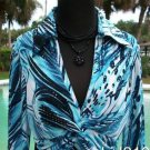 Cache $$$ STRETCH RUCHED ABSTRACT RUCHED FAUX WRAP Top NEW L LOVE KNOT