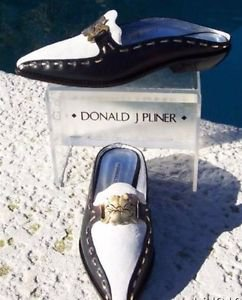 Donald Pliner $265 COUTURE WHITE SUEDE LEATHER DARK NAVY Loafer Shoe NIB