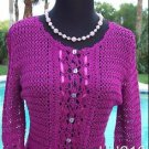 Cache $148 PEEK-A-CROCHET KNIT + SELF-BELT Top NWT XS/S/M RIBBON TRIM STRETCH