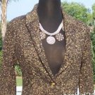 Cache $188 METALLIC SWEATER JACKET Top NWT S/M  TEXTURED GEMSTONE BUTTONS