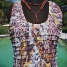 Cache $$$ ANIMAL PRINT LAYERED RUFFLE CAMI Top NWT M/L STRETCH