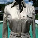 Cache $168 METALLIC LINEN BLEND Jacket + BELT NWT XS/S LIGHT GOLD STRETCH