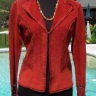 Cache $248 SUEDE LEATHER PEEK-A-BOO CROCHET INSERT Jacket Top NWT XS/S RUST COLO